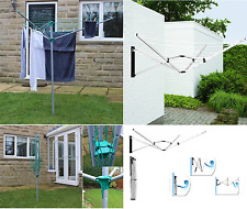 3/5 Arm Garden Rotary Airer Dryer Washing Line & Ground Spike Clothes Airer New