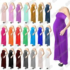 New Ladies Strapless Plain Bandeau Boobtube Maternity Gather Sheering Maxi Dress