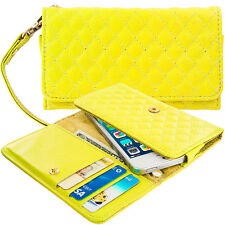 Yellow Luxury Designer Wallet Flip Case Pouch Holder With Strap For Phones