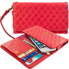 Red Luxury Designer Wallet Flip Case Pouch Holder With Strap For Phones