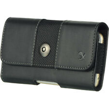 Black XL Luxmo Premium PU Leather Belt Clip Holster Pouch Clip Case For Phones