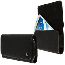 Luxmo Black Premium PU Leather Belt Clip Holster Pouch Clip Case For Phones