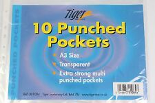 10 A3 TIGER PORTRAIT OR LANDSCAPE PUNCHED POCKETS POLYPROP 90 MICRON GLASS CLEAR