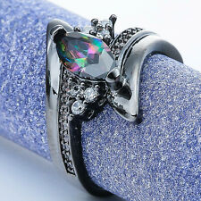 Black Gold Filled Ring With Marquise Cut Rainbow Mystic Topaz And Cubic Zirconia