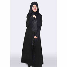 Front Open Jersey Abaya/ Overcoat/ Gown With Heavy Embroidery of Thread Bead