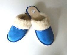 Ladie's Leather Suede Slippers Shipskin Wool Slip-on Blue All Sizes