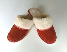 Ladie's Leather Suede Home Slippers Shipskin Wool Slip-on RED All Sizes