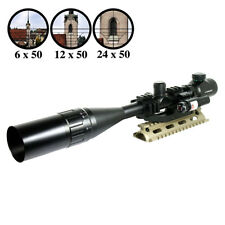 6-24X50 R/G Tactical Rifle Scope Mil-dot with PEPR Mount +Sunshade+Laser Sight