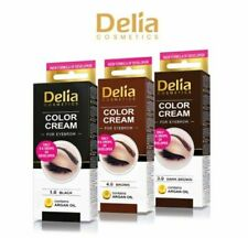 DELIA HENNA COLOR CREAM PROFESSIONAL EYEBROW TINT KIT DYE BLACK BROWN DARK BROWN
