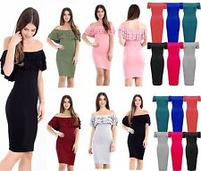NEW WOMENS LADIES BARDOT MIDI OFF THE SHOULDER MIDI DRESS Bodycon Plus Size 8-22