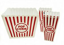 NEW VINTAGE Large Reusable Plastic Popcorn Tub Container Movie Bowl Round Square