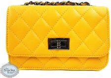 ladies Italian leather quilted micro clutch hand bag shoulder chain strap