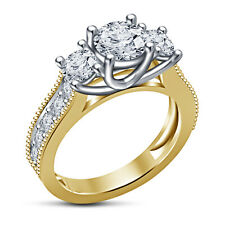 925 Sterling Silver 14K Gold Finish RD Cut White Cubic Zirconia Three Stone Ring
