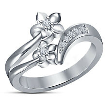White Platinum Plated Sterling Silver RD Simulated Diamond Flower Shape Ring