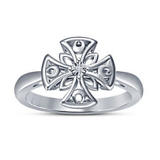 Sterling Silver White RD Cut CZ White Plated Over Beautiful Simple Design Ring