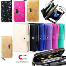 Magnetic Zipper Wallet Leather Card Slot Case Cover For Apple iPhone 6