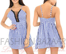 Womens Blue Gingham Lace Up Cami Strap Skater Mini Dress Summer Holiday Dress BN