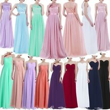 Women Long Chiffon Evening Formal Party Ball Gown Prom Bridesmaid Dress Size4-16