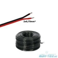 ( 0,59€/m ) 5-100m LED / COCHE CABLE / Cable 2x 0,75mm ² Negro Cubierto 2-adrig