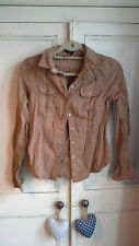 NWOT H&M womens girls brown suede effect shirt size 8 casual