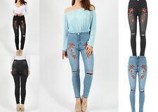 WOMENS LADIES FLORAL EMBROIDERED HIGH WAIST RIPPED STRETCH DENIM SKINNY JEANS