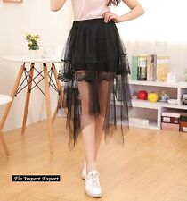 Mini Gonna Donna Tulle Lungo Trasparente e Pizzo Woman Tulle Lace Skirt 130039