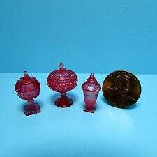 Dollhouse Miniature Chrynsbon Candy Dish Set in Cranberry ~ CB68CR