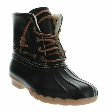SEVEN 7 FOOTWEAR WOMEN'S RAIN BOOTS SPEYSIDE DUCK BOOT LACE-UP COLOR BLACK