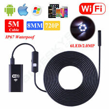 WIFI 8mm 5m IP67  Endoscope Borescope Snake Inspection Camera Android Iphone IOS