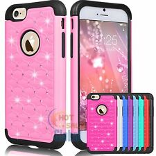 Bling Crystal Rubber Matte Protective Hard Case Cover for Apple iPhone 6 6s