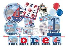 NEW  Blue 1st First Birthday Boys Sea Side Nautical Party Supplies Tableware