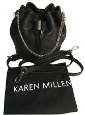 Karen Millen Snake Mini Bucket Bag Long Shoulder Strap Cross Body Leather Womens
