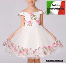 Vestito Bambina Abito Cerimonia Rose Girl Party Roses Princess Dress CDR061 SD
