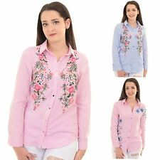 Womens Long Sleeve Oversized Floral Embroidered Stripy Button Up Blouse Shirt