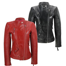 Ladies Women's Real Soft Leather Biker Jacket Vintage Fitted Style in Black Red