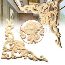 Set Of Wood Carved Corner Onlay Applique Unpainted Furniture Frame Craft Decor