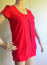RED SHORT SLEEVE PLEATED WIDE MATERNITY BREASTFEEDING TOP WITH DOUBLE LAYER