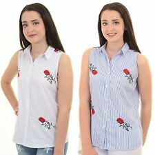 Womens Rose Floral Sleeveless Button Up Rose Floral Embroidered Blouse Top Shirt