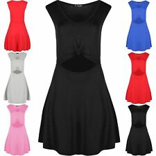 Womens Ladies Casual Swing Skater Cut Out Knot Waist Detail Flared Mini Dress