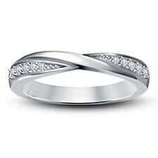 White Platinum Plated 925 Silver Awesome Band Ring For Women's With RD CZ
