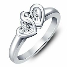 White Rhodium Over 925 Sterling Silver American Diamond Double Heart Ring RJ