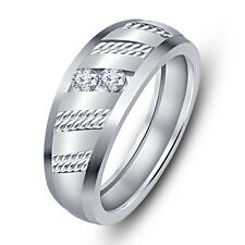 Gorgeous Rhodium Plated 925 Sterling Silver American Diamond Elegant Band Ring