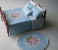 Dollhouse Miniature Handmade Blue Bedspread & 5 Pillows with Matching Rug