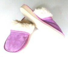 Ladie's Leather Suede Home Slippers Shipskin Wool Slip-on PINK All Sizes