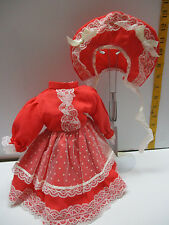 VICTORIAN STYLE  RAYON RED DOLL DRESS For Vintage Antique ChinA 16