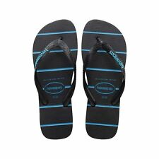 ORIGINALI HAVAIANAS TOP STRIPES LOGO Ciabatta infradito UNISEX BLACK BLUE