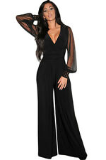 Embellished Cuffs Long Mesh Sleeves Jumpsuit