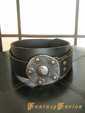 Leather Belt with Ancient Medieval Buckle LARP Vintage