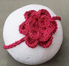 CROCHETED HEADBAND BABY GIRL hair band knit reborn doll photoprop red sequin