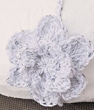 CROCHETED HEADBAND BABY GIRL hair band knit reborn doll photoprop silver sequin